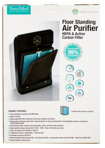NuvoMed Floor Standing Hepa Filter Air Purifier Perspective: front