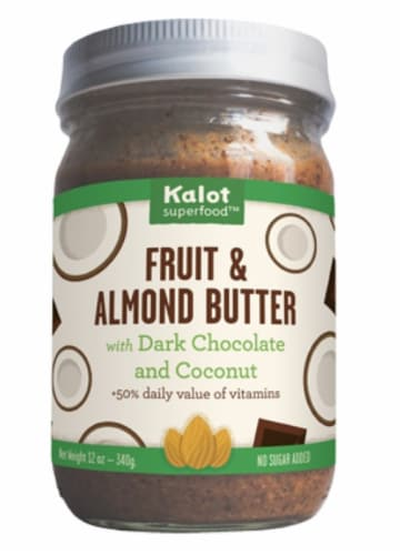 Kalot Superfood Fruit & Almond Butter with Dark Chocolate & Coconut Perspective: front