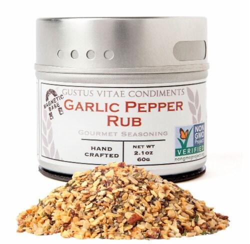 Gustus Vitae Garlic Pepper Rub Gourmet Seasoning Perspective: front