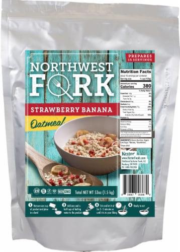 NorthWest Fork Strawberry Banana Oatmeal (Gluten-Free, Non-GMO, Kosher, Vegan) Perspective: front