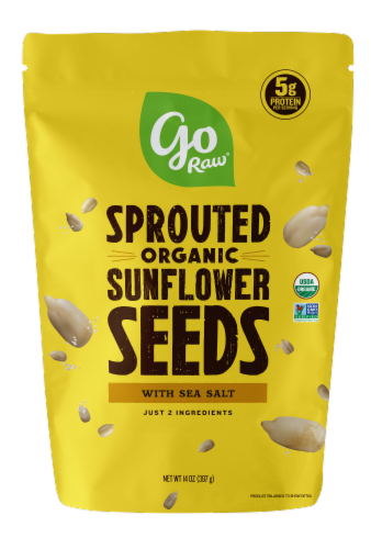 Go Raw Organic Sprouted Sea Salt Sunflower Seeds Perspective: front