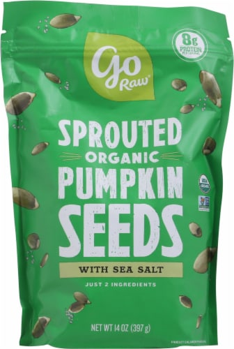 Go Raw Sprouted Organic Sea Salt Pumpkin Seeds Perspective: front