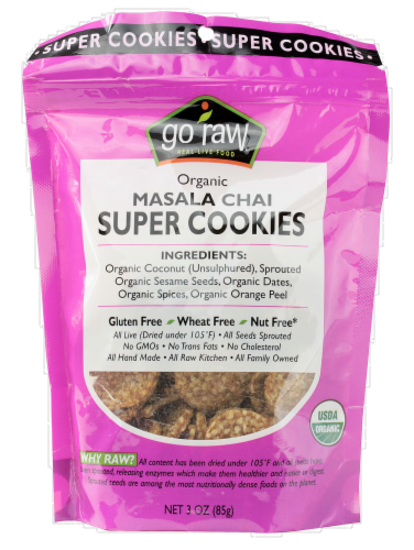Go Raw Masala Chai Super Cookies Perspective: front