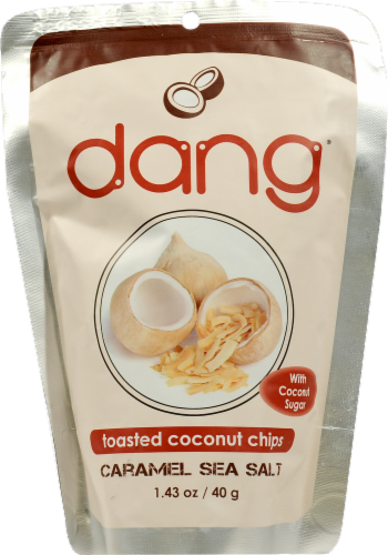 Dang Caramel Sea Salt Toasted Coconut Chips Perspective: front