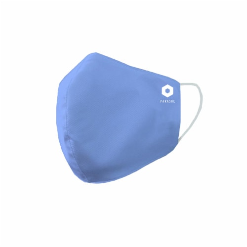 Parasol Children's 3-Layer Reusable Cloth Blue Face Mask Perspective: front