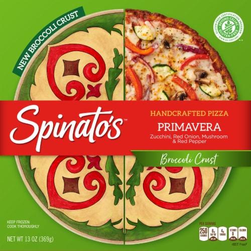 Spinato's Broccoli Crust Primavera Handcrafted Pizza Perspective: front