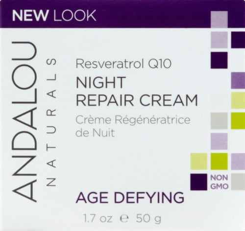 Andalou Naturals Age Defying Resveratrol Q10 Age Defying Night Repair Cream Perspective: front