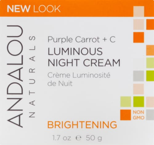 Andalou Naturals Purple Carrot and C Luminous Night Cream Brightening Perspective: front