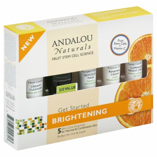 Andalou Naturals Brightening Skin Care Essentials Kit Perspective: front