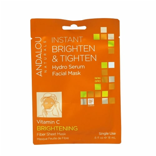 Andalou Naturals Instant Brighten & Tighten Hydro Serum Facial Mask Perspective: front