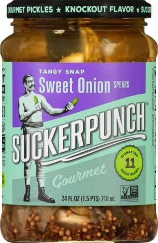 Suckerpunch Sweet Onion Gourmet Pickle Spears Perspective: front