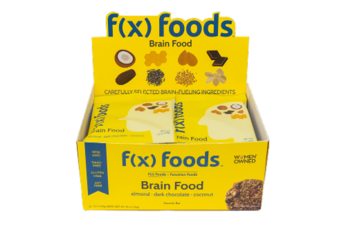 Brain Food - 12 pack gluten free, all-natural nutrition bar, granola bar, fx foods Perspective: front