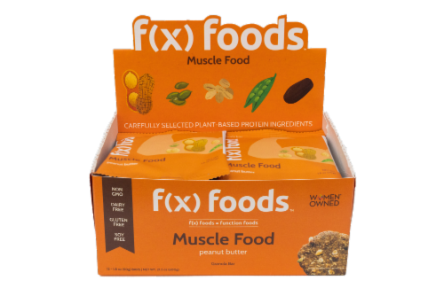 Muscle Food - 12 pack gluten free, all-natural nutrition bar, granola bar, fx foods Perspective: front