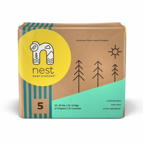 Sustainable Plant-Based Diapers  Nest Baby Diapers Size 5, 108 diapers Perspective: front