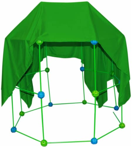 Funphix Glow in the Dark Fort Building Kit with Sheet - Blue/Green Perspective: front