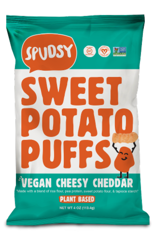 Spudsy Vegan Cheesy Cheddar Sweet Potato Puffs Perspective: front