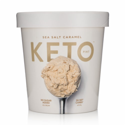 Keto Pint Sea Salt Caramel Ice Cream Perspective: front