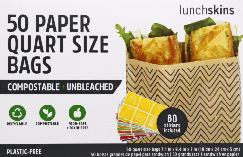 Lunchskins Compostable + Unbleached Paper Bags - 50 Pack Perspective: front