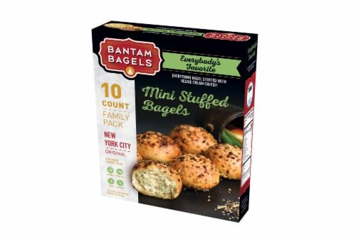 Bantam Bagels New York City Original Mini Stuffed Everything Bagels with Veggie Cream Cheese Perspective: front