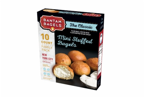 Bantam Bagels New York City Original Mini Plain Bagels Stuffed with Plain Whipped Cream Cheese Perspective: front