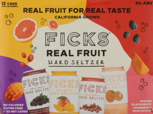 Ficks® Real Fruit Hard Seltzer Variety Pack Perspective: front