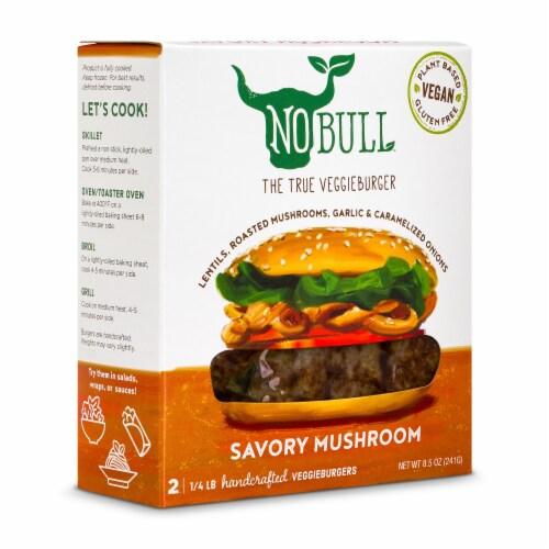 NoBull Savory Mushroom Veggie Burgers Perspective: front