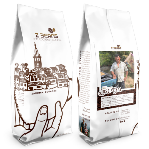 Ground, Ecuadorian Coffee - Jose Capa's Plantation - Dark Roast Perspective: front