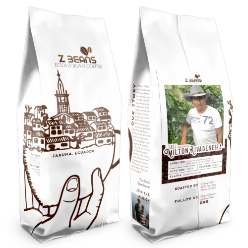 Whole Bean, Ecuadorian Coffee - Milton Rivadeneira's Plantation - Natural Processed Perspective: front