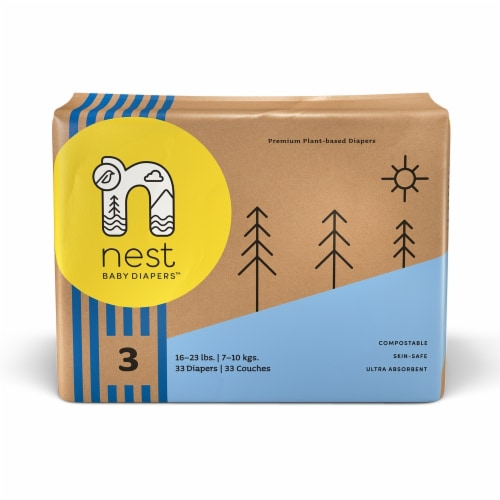 Sustainable Plant-Based Diapers  Nest Baby Diapers Size 3, 66 diapers Perspective: front