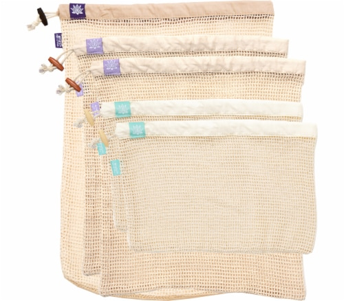 Lotus Sustainables Lotus Produce Bags - 100% Cotton Set of Five Perspective: front