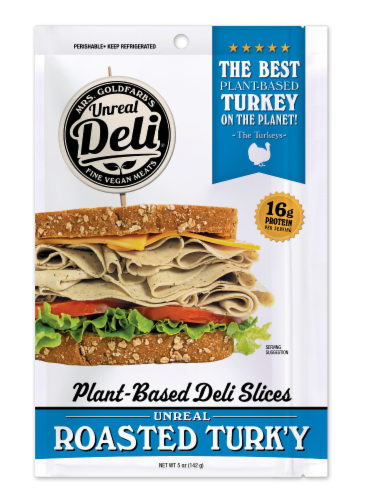 Unreal Plant-Based Roasted Turk'y Deli Slices Perspective: front