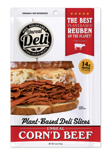 Unreal Plant-Based Corn'd Beef Deli Slices Perspective: front