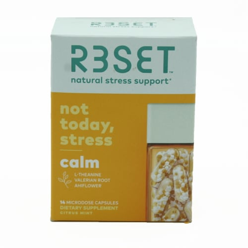 R3SET Calm Natural Stress Support Supplement Capsules Perspective: front
