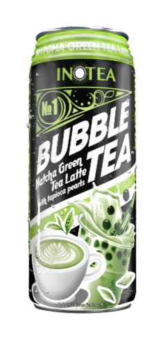 TARO Matcha Green Tea Latte Bubble Tea with Tapioca Pearls Perspective: front