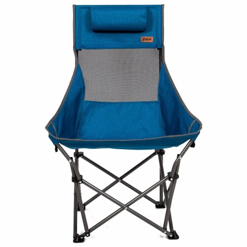 Mac Sports XP High Back Folding Portable Compact Lightweight Camping Chair, Blue Perspective: front