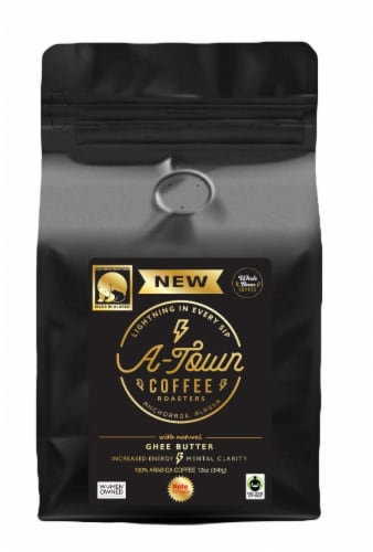 A-Town Coffee Roasted in Ghee Butter Whole Bean Coffee Perspective: front