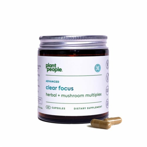Plant People Advanced Clear Focus Herbal + Mushroom Multiplex Capsules Perspective: front