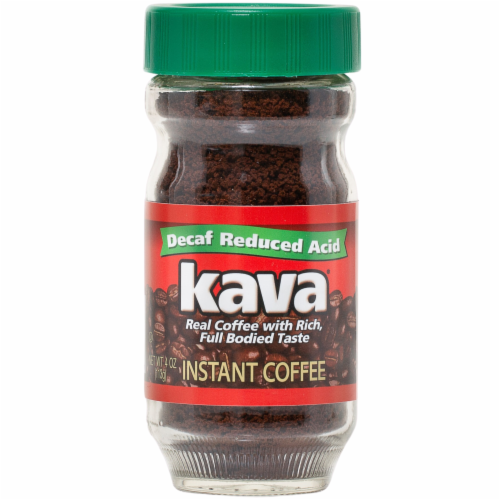 Kava Decaf Reduced Low-Acid Instant Coffee, 4 Ounce Glass Jar Perspective: front
