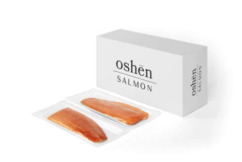 BluGlacier Oshen Fresh Skin On Salmon Fillets (approximate delivery 1 -3 days) Perspective: front