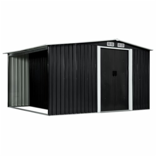 """vidaXL Garden Shed with Sliding Doors Anthracite 129.7""""x80.7""""x70.1"""" Steel Perspective: front"""