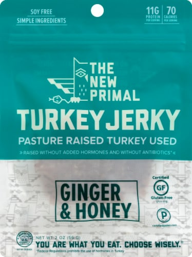 The New Primal Ginger & Honey Turkey Jerky Perspective: front