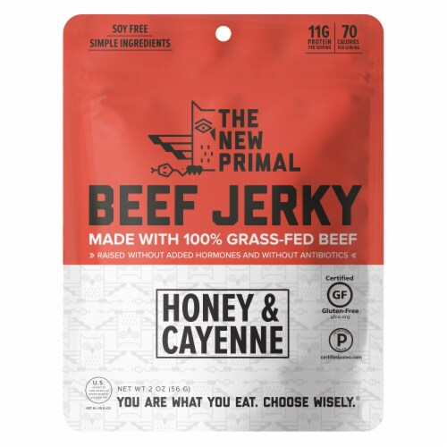 The New Primal Spicy Grass Fed Beef Jerky Perspective: front
