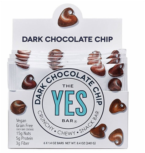The YES Bar  Vegan Gluten Free Real Food Paleo Snack Bar   Dark Chocolate Chip Perspective: front