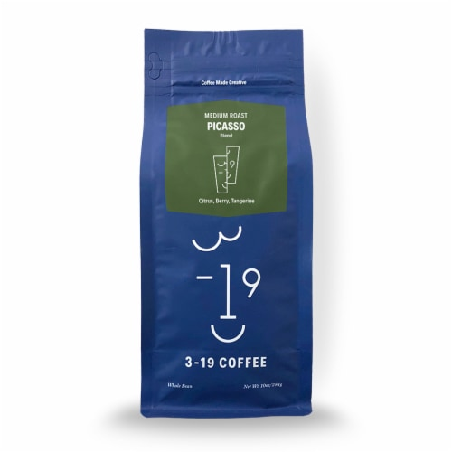 3-19 Coffee Picasso Blend Medium Roast Whole Bean Coffee Perspective: front