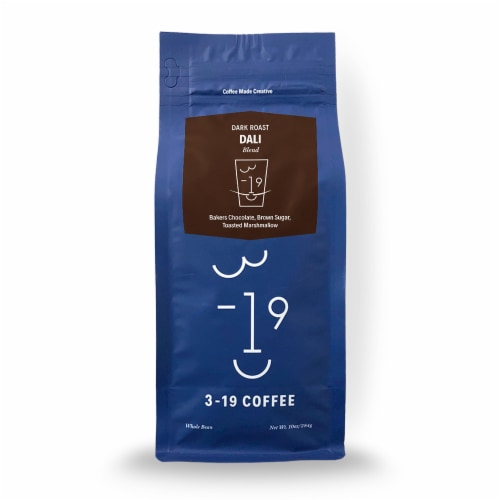 3-19 Coffee Dali Blend Dark Roast Whole Bean Coffee Perspective: front
