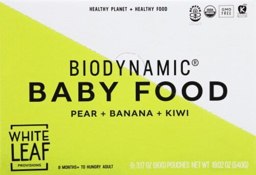 White Leaf Biodynamic Pear Banana Kiwi Baby Food Pouches Perspective: front
