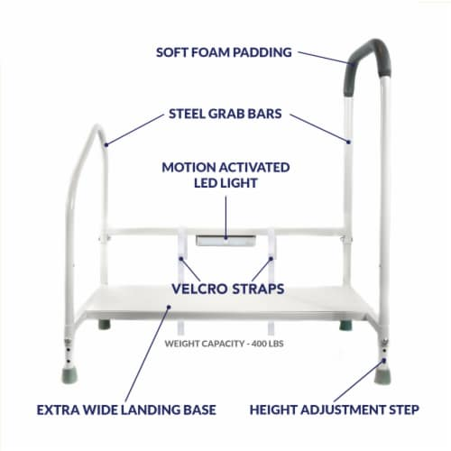Step2bed Bed Rails for Elderly w/ Adjustable Height Bed Step Stool Perspective: front