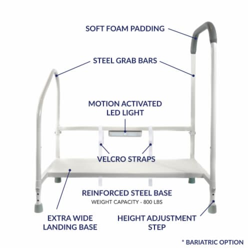 Step2bed XL Bed Rails for Elderly w/ Adjustable Height Bed Step Stool Perspective: front