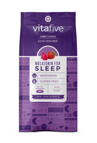 vitafive Melatonin for Sleep Gummies 60 Count Perspective: front