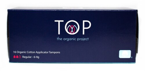 TOP Regular Absorbency Organic Cotton Applicator Tampons Perspective: front